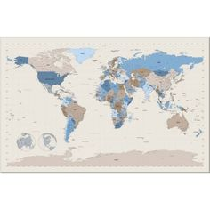 World map w names y pinterest wall decals walls and map globe world map art canvas print gumiabroncs Images