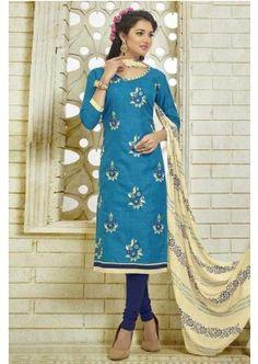 couleur bleue coton bhagalpuri costume churidar, -  71,00 €,  #Robeindienne  #Salwarkameezmariage  #Salwarkameezfemme  #Shopkund
