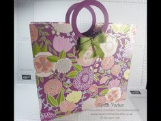 (195) Linda's Large Tote Bag with Circular Handles - Sweet Soiree DSP by Stampin' Up! - YouTube