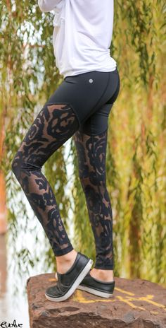 Embrace the floral print with these black rose lace leggings! Shop now at www.evolvefitwear.com.