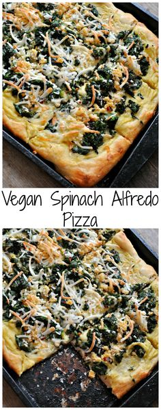 Vegan Spinach Alfredo Pizza - Rabbit and Wolves