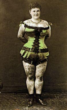 Emma de Burgh (c. 1880's), one of the First Modern Tattooed Women