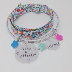 """Bracelet personnalisé jonc argenté FLOWER avec 2 GRAVURES PERSONNALISABLES """"Bonjour Amour"""" by Palilo"""