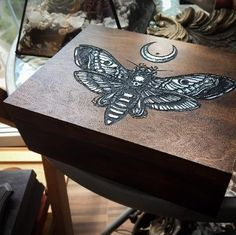 Box Dead Head Dark wood and Silver Painted Wooden Boxes, Hand Painted, Movie Crafts, Deaths Head Moth, Purple Candles, Witch Board, Witch Shop, Diy Furniture Projects, Diy Projects