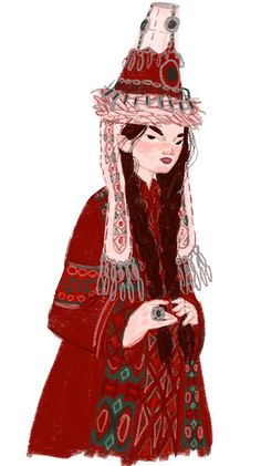 Kazakh girls in traditional folk clothes on Behance Character Illustration, Illustration Art, Historical Concepts, Character Art, Character Design, Culture Clothing, Bright Art, Beautiful Artwork, Aesthetic Girl
