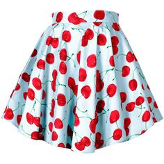 Cherry/Strawberry Print A-line Flare Skirt ($36) ❤ liked on Polyvore featuring skirts, bottoms, strawberries, blue circle skirt, cherry skirt, blue skater skirt, skater skirt and knee length a line skirt