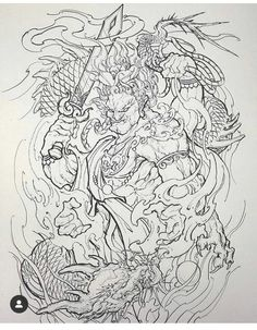 Fudo Myoo 不動明王 / Dragon 龍 by in an undisclosed location (private studio), France 🇫🇷 Foo Dog Tattoo Design, Geisha Tattoo Design, Japan Tattoo Design, Japanese Tattoo Designs, Japanese Tattoo Art, Japanese Sleeve Tattoos, Aztec Tattoo Designs, Tattoo Sleeve Designs, Guardian Tattoo