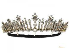 Antigo tiara de diamante / colar, Inglês, cerca de 1880.