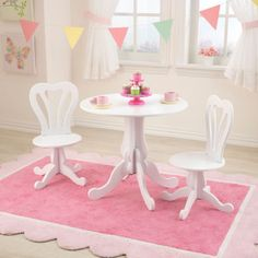 Childrens-Table-Chair-Set-Parlor-Play-Furniture-Upscale-Wooden-White-Girls