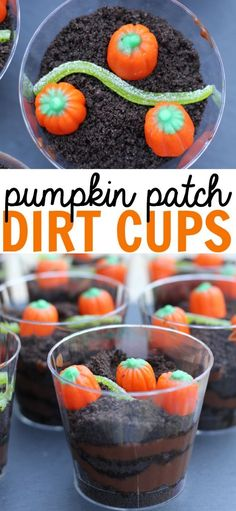 individually portioned Pumpkin Patch Dirt Cups make for the perfect fall snack at a home, school, or a Halloween party!These individually portioned Pumpkin Patch Dirt Cups make for the perfect fall snack at a home, school, or a Halloween party! Halloween Cupcakes, Bonbon Halloween, Postres Halloween, Dessert Halloween, Halloween Tags, Halloween Food For Party, Preschool Halloween Party, Easy Halloween Treats, Halloween Ideas