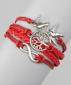 Look what I found on #zulily! Simply Reese Red Tree of Life Cord Bracelet by Simply Reese #zulilyfinds