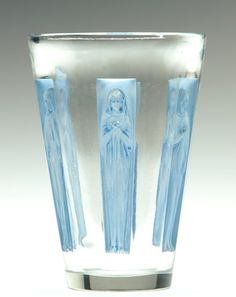 "R. LALIQUE Vase, ""Gobelet Six Figurines,"" clear and frosted with blue patina, c. 1912. Engraved R. Lalique"