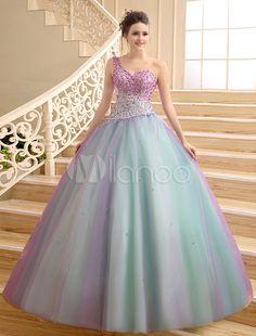 Ball Gown One-Shoulder Floor-Length Quinceanera Dress with Beading - Milanoo.com