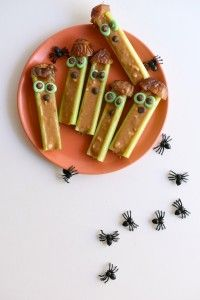 Celery Frankensticks from Fork & Beans' FREE ebook: 10 Healthy Plant-Based Halloween Recipes