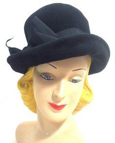 Soft Side Bowler Style Black Hat w/ Bow circa 1960s - Dorothea's Closet Vintage