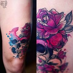 Instagram media by dzo_lama - Skull with flowers in my version ;) @tattrx #tattoo #tattrx #poland #tattoolife #tattoogirl #polishgirl #skull #rose #pink #leg #wroclaw #scotland #glasgow #germany #koblenz #linz #dzolama #dzo_lama #watercolor