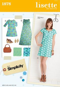 "Simplicity ""Lisette Sew Your Style"" #1878 - Suggested fabrics: cottons, gingham, chambray, twill, linens"