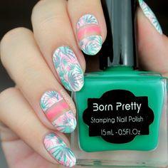 Tropical nails Pink and green layered stamping
