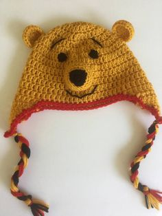 Cute as a button  Crochet Winnie the Pooh Inspired Earflap Hat knitted crocheted cap children kids boy girl clothing accessories