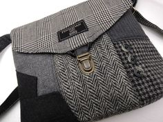 Crossbody Purse iPhone pocket Recycled mens suit by SewMuchStyle