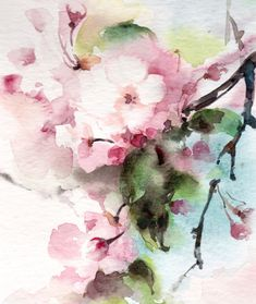 Cherry Blossoms Original Watercolor Painting by CanotStop on Etsy