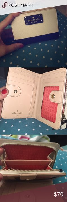 Kate Spade wallet💖💖💖💖💖 Cream and black color block wallet. Roomy; barely used. Cute but a little to small for all my stuff ☺️. Coin pocket on the back kate spade Bags Wallets