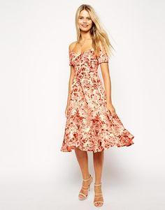 Enlarge ASOS Porcelain Print Bardot Midi Prom Dress
