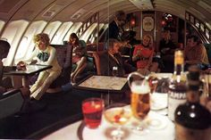 The exclusive Captain Cook Lounge nestled in the 'bubble' atop each Qantas Boeing 747.