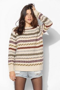 Pair sweater w/cutoffs and tights //Coincidence & Chance Fair Isle Sweater Pink Fur Coat, Librarian Style, Fair Isle Pattern, Urban Outfitters Sweaters, Perfect Wardrobe, Sweater Weather, Chilly Weather, Knitting Designs, Cardigans For Women