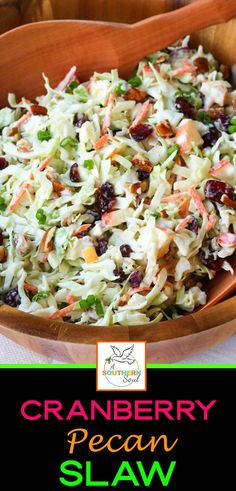 Take your coleslaw to a whole new level with sweet, tangy cranberries and crunchy pecans. Mix in an apple and some savory, green onions then toss them all in a creamy dressing for a dish that will be a favorite at any gathering! Winter Salad Recipes, Apple Salad Recipes, Slaw Recipes, Healthy Recipes, Yummy Coleslaw Recipe, Pasta Facil, Coleslaw Mix, Side Dish Recipes, Side Dishes
