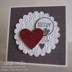 Paper Doiley and Sparkly Heart by willsygirl - Cards and Paper Crafts at Splitcoaststampers