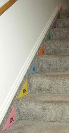 SOLFEGE Stairs >>> this is a great VISUAL... but it is even better to have the kids WALK it // step it and sing as they go.  SING solfege ... or 1 2 3 4 5 6 7 8.  While some make the trip UP and DOWN, the others are doing the hand signs. Every student gets a turn.