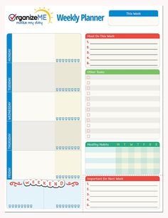AmazonSmile : OrganizeME Weekly Planner Pad | Week Calendar Organizer For Daily Chores & To Do Lists | Easy To Tear Off Bottom | 60 Pages Daily Notebook For Meal Planning, Event Going & Healthy Habits Noting : Office Products