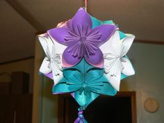 Kusudama flower balls I made. Added a little glitter spray and they made beautiful decorations.