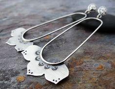 Sterling Silver Flowers, Copper Jewelry, Beautiful Earrings, Artisan Jewelry, Dangles, Handmade Items, Hoop Earrings, Lotus Flower, Armour