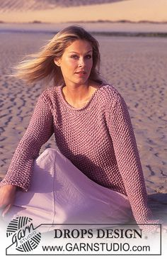 DROPS Seed Stitch Pullover in Muskat, Cotton-Viscose and Silke-Tweed. Free knitting pattern by DROPS Design. Sweater Knitting Patterns, Knitting Stitches, Knit Patterns, Free Knitting, Knitting Daily, Cardigan Pattern, Drops Design, Seed Stitch, Tweed