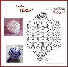 Crochet Diagram, Crochet Chart, Crochet Motif, Crochet Flowers, Crochet Christmas Trees, Christmas Crochet Patterns, Crochet Christmas Ornaments, Crochet Ball, Thread Crochet