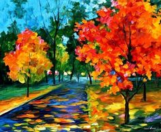 Autumn painting - Flame Of Autumn — autumn oil painting on canvas by Leonid Afremov. autumn wall art autumn wall decor autumn home decor art Autumn Painting, Oil Painting On Canvas, Abstract Paintings, Original Paintings, Abstract Art, Fall Paintings, Famous Landscape Paintings, Canvas Art, Painting Trees