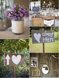 Rustic wedding. I like the heart with the arrow sign for driveway