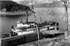 Moyie at the Wharf in Kaslo on Kootenay Lake with Railway Boxcars in the Foreground in 1935 Rail Car, Tug Boats, Large Photos, Boat Plans, Historical Pictures, History Facts, Model Trains, British Columbia, Canada