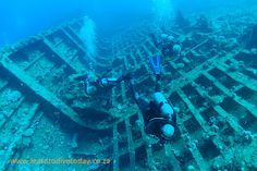 Tony, Kate and Christo swimming through a broken up cargo hold on the wreck of the Giannis D in Egypt's Red Sea Red Sea Diving, Under The Sea, Egypt, Aviation, To Go, Ships, Swimming, Boats, Boating