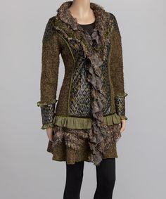 Look at this #zulilyfind! Green & Brown Leopard Faux Fur Wool-Blend Jacket by Nicole Sabbattini #zulilyfinds