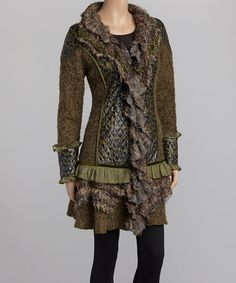 Look at this #zulilyfind! Green & Brown Leopard Faux Fur Wool-Blend Jacket by Nicole Sabbattini #zulilyfinds