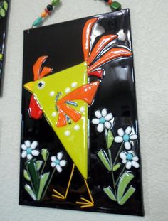 Fused Glass Chicken Rooster Flower Plaque Whimsical by jodysart, $29.99