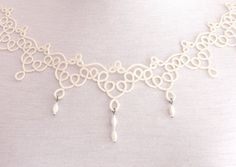 Ivory tatted lace necklace off white wedding от SILHUETTE