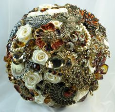 Autumn jeweled wedding bouquet. Ivory, amber and chocolate. Deposit on a made to order bouquet. $75.00, via Etsy.