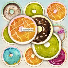 Sweet Donuts  Girls  2.5 inch circles  set of 12 by bydigitalpaper