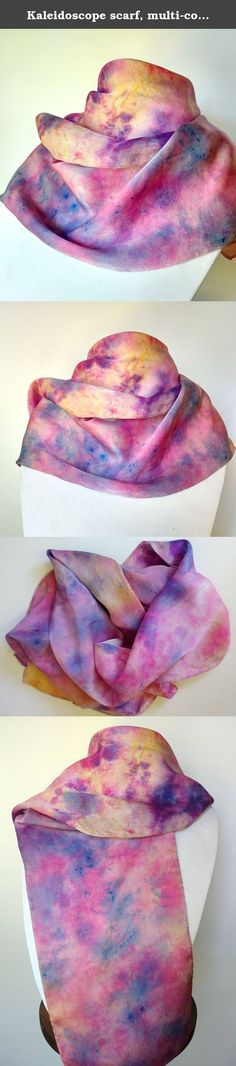 Kaleidoscope scarf, multi-colored blue, pink, yellow, purple silk scarf, Scarves for Women, Hand Painted Scarf, Handmade Scarf, Sashes for Women, Belts for Women Wraps for Women. A kaleidoscope of pink, blue yellow and purple flow throughout this scarf. It is hand painted in a beautiful abstract pattern on 100% silk fabric. Wear it as a scarf around your neck or as a sash around your waist or hips. A stunning mix of colors in a one-of-a-kind design to make any outfit rock! Fabric: 100%…