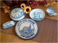 Hadley Pottery gravy boats, butter dishes, and casserole dishes and perfect for fall entertaining!
