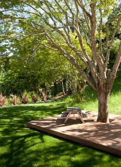 Shades of Green Landscape Architecture created this wooden patio under the trees for a project in Orinda, CA.